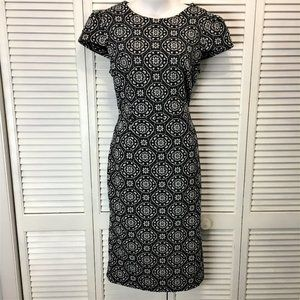 Betsy Johnson dress size 10 black white print knit